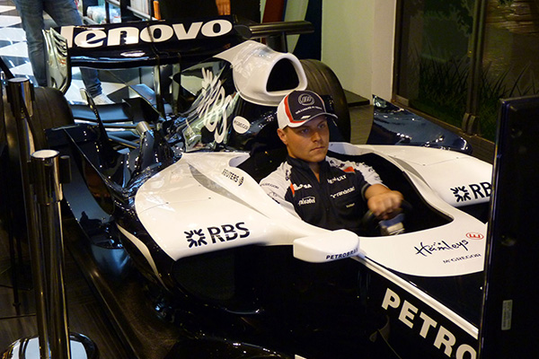 Valtteri Bottas in a Bernax Race Simulator